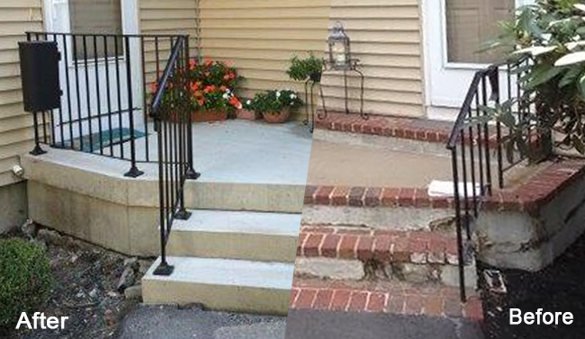 The Old Tired Concrete Porch Was Replaced In One Day With Our